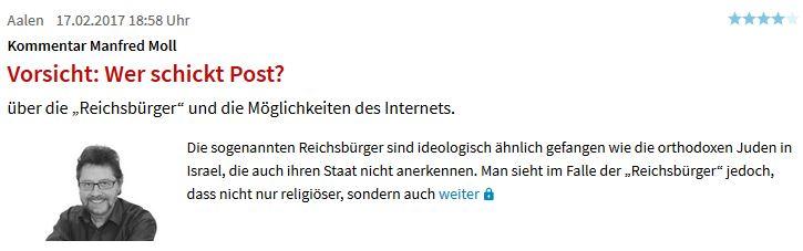 Schwäbische Zeitung seltsame Analogie
